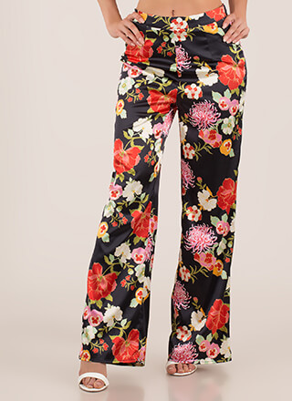 Floral Refresh Satin Wide-Leg Pants