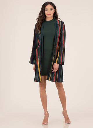Within These Lines Striped Tied Duster