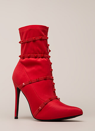 Get The Edge Strappy Studded Booties