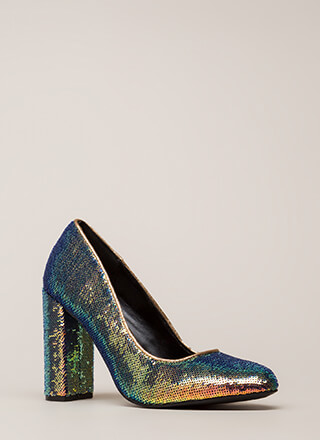 Special Sparkle Chunky Sequined Pumps