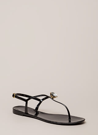 Crown Jewel T-Strap Jelly Sandals