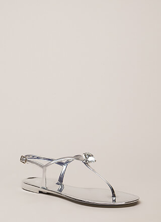 Crown Jewel Metallic Jelly Sandals