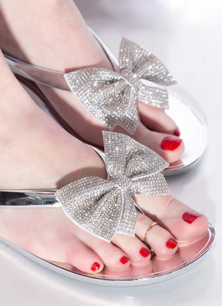 Bow For It Jeweled Jelly Thong Sandals