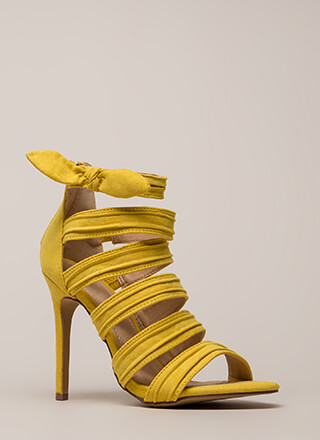 Bow Get 'Em Strappy Pleated Heels
