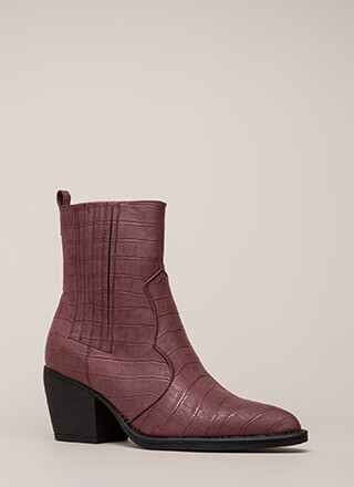 In A While Crocodile Block Heel Booties