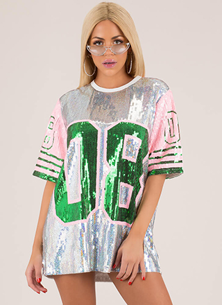 Baller Sequined Jersey Minidress