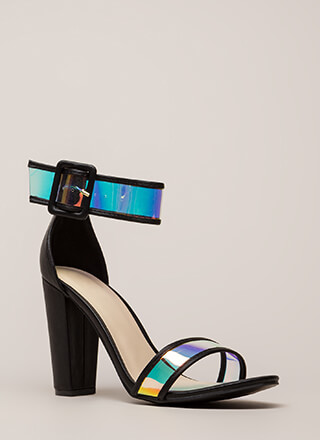 Clear The Way Chunky Iridescent Heels