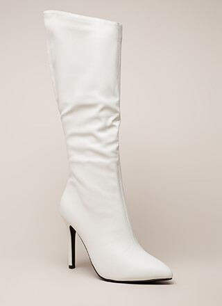New Slant Pointy Faux Leather Boots