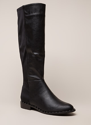 Simply Studded Faux Leather Riding Boots