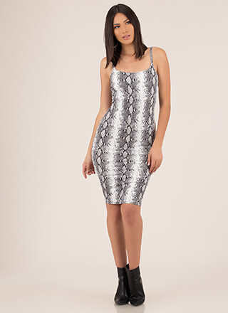 Slither Away Snake Print Midi Dress