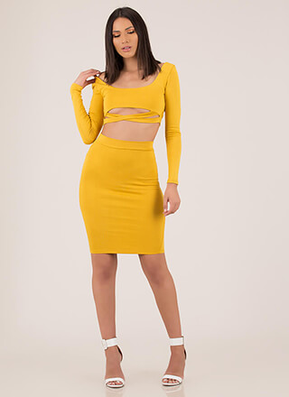 Bust Out Strappy Top And Skirt Set
