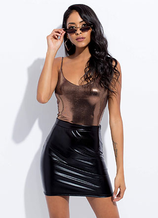 Every Night Faux Leather Miniskirt