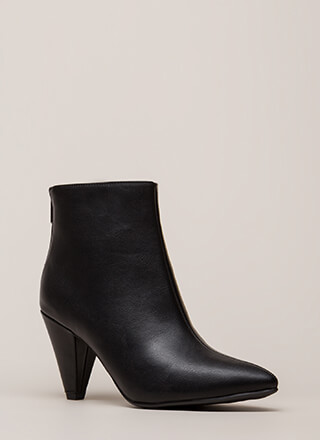 Perfect Form Pointy Cone Heel Booties