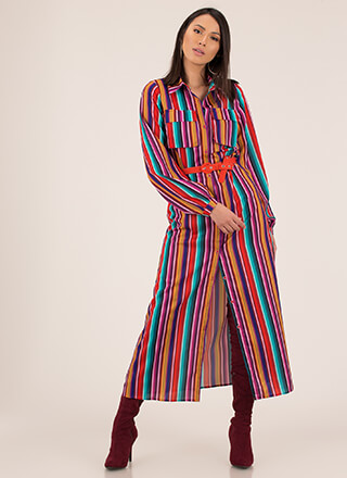 Color Pattern Striped Maxi Shirt Dress