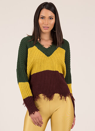 Knit Pick Fringed Colorblock Sweater