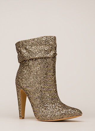 All Night Sparkle Pointy Slouchy Booties