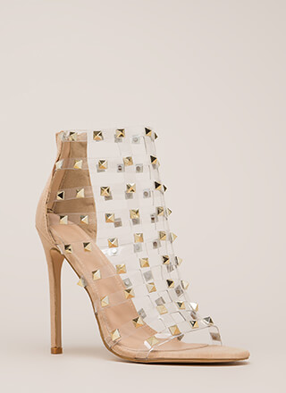 Clearly A Stud Caged Faux Suede Heels