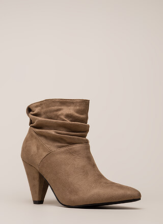 Too Chic Slouchy Cone Heel Booties