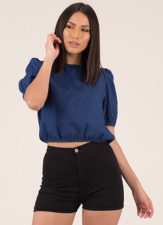 Hey Cutie Puffy Chambray Crop Top