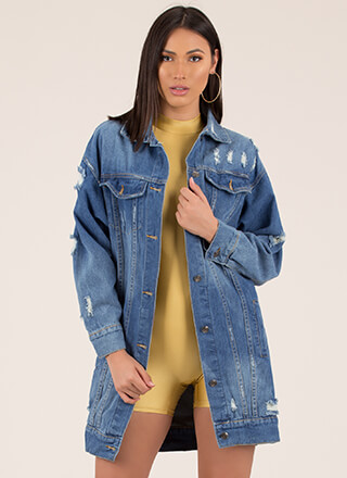 A Long Time Distressed Denim Jacket
