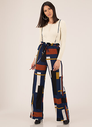 Retro Ready Suspendered Wide-Leg Pants