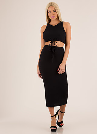 Tongue-Tied Drawstring Top And Skirt Set