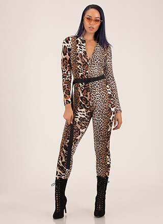 Call Of The Wild Belted Leopard Jumpsuit