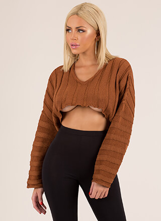 Keep It Short Cropped Rib Knit Sweater