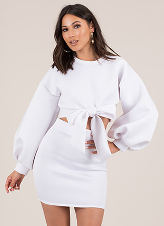 Bow Em Gee 2-Piece Puff Sleeve Dress