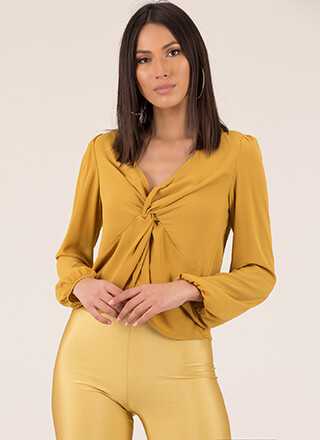 Knot Included Twist-Front Blouse
