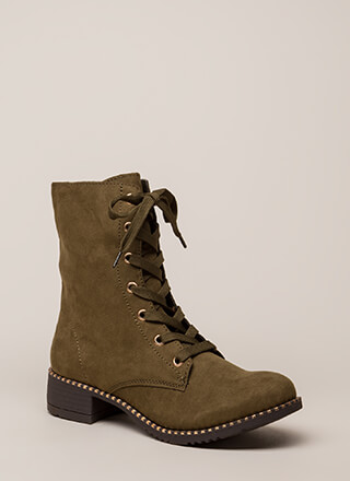 Keeping Trim Faux Suede Combat Boots