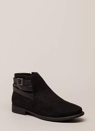 Primetime Strappy Faux Suede Booties