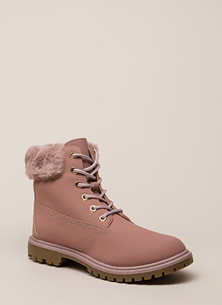 Just Fur You Faux Nubuck Work Boots