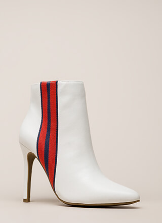 Ribbon Winner Striped Pointy Booties