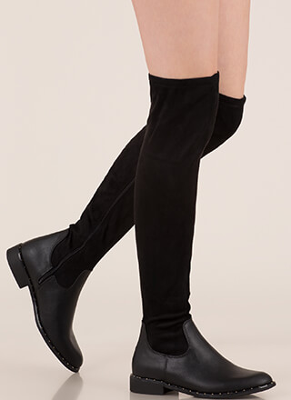 Materials Girl Studded Thigh-High Boots