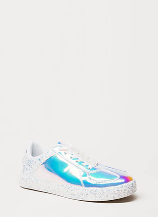 Glitter And Gloss Holographic Sneakers