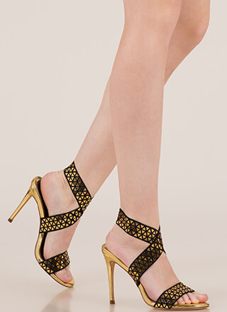 Rock Bands Strappy Geometric Heels