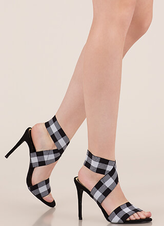 Rock Bands Strappy Buffalo Plaid Heels