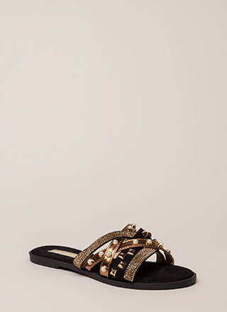 I Embellished Strappy Studded Sandals