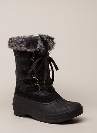 Just Fur Fun Lace-Up Duck Boots