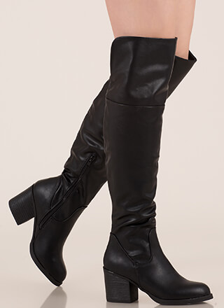 d559c87ff455 Top Notch Faux Leather Thigh-High Boots