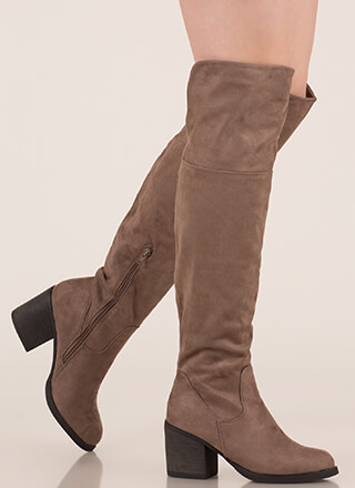 Top Notch Faux Suede Thigh-High Boots