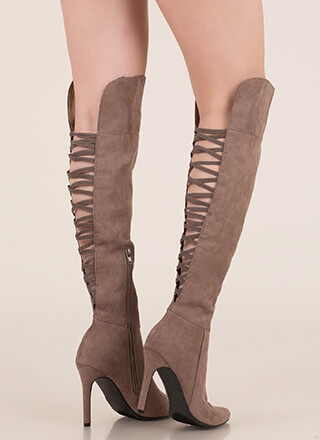 Bringing Strappy Back Thigh-High Boots