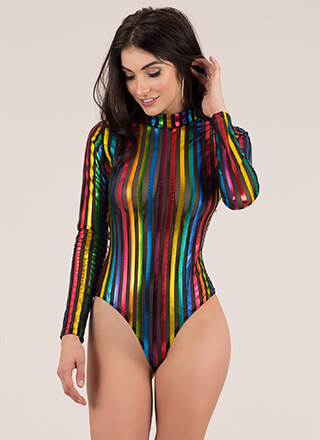 My Rainbow Striped Shadow Mesh Bodysuit