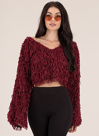 Love Shag Baby Fringed Cropped Sweater