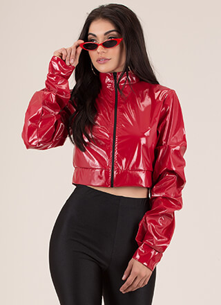 Scrunch Time Cropped Faux Patent Jacket