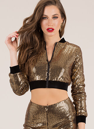 Seeking Sequins Cropped Jacket