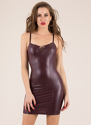 Top Notch Faux Leather Minidress