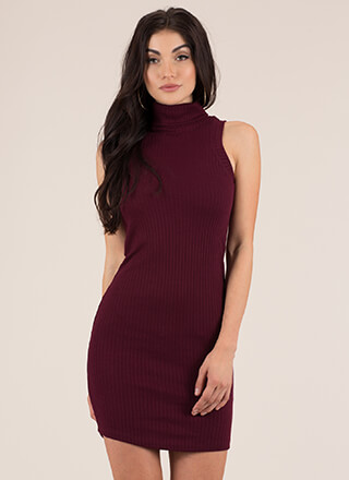 Simplicity Ribbed Turtleneck Dress