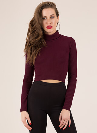Simplicity Ribbed Turtleneck Crop Top